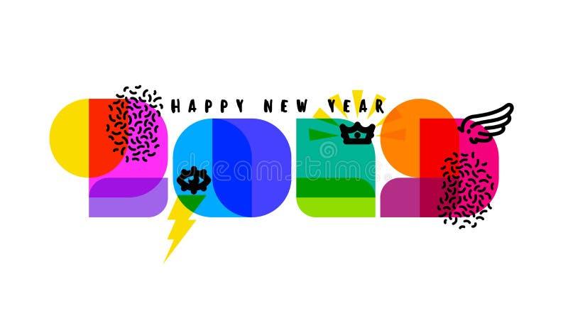 Nombres modernes 2019 avec des éléments de conception et des salutations de nouvelle année illustration stock