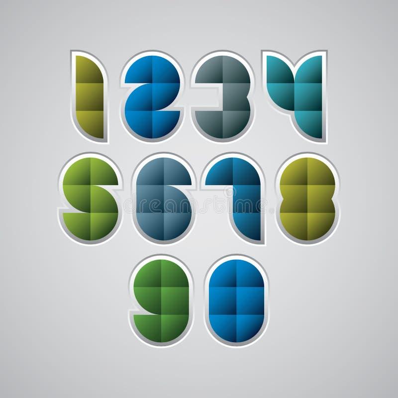 Nombres modernes géométriques de style faits avec des places, ensemble de vecteur illustration stock