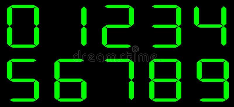 Nombres numériques de calculatrice de vecteur Fond noir avec des nombres verts illustration libre de droits