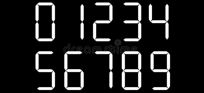 Nombres numériques de calculatrice de vecteur Fond noir avec les nombres blancs illustration stock