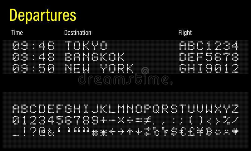 Nombres numériques et symboles de lettres de police de LED illustration libre de droits