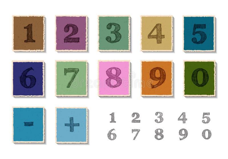Nombres réglés sur la coupe de papier illustration libre de droits