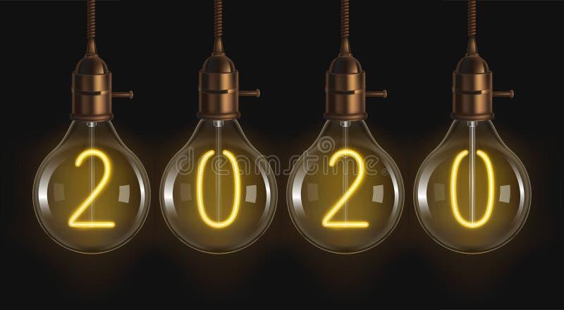 2020 nombres rougeoyants à l'intérieur d'ampoules de filament illustration stock