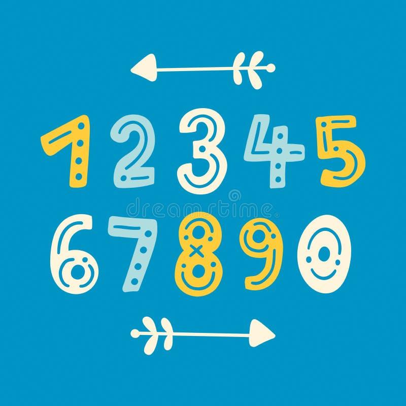 Nombres tirés par la main mignons de vecteur avec des flèches de frontière Icônes mathématiques colorées réglées illustration de vecteur
