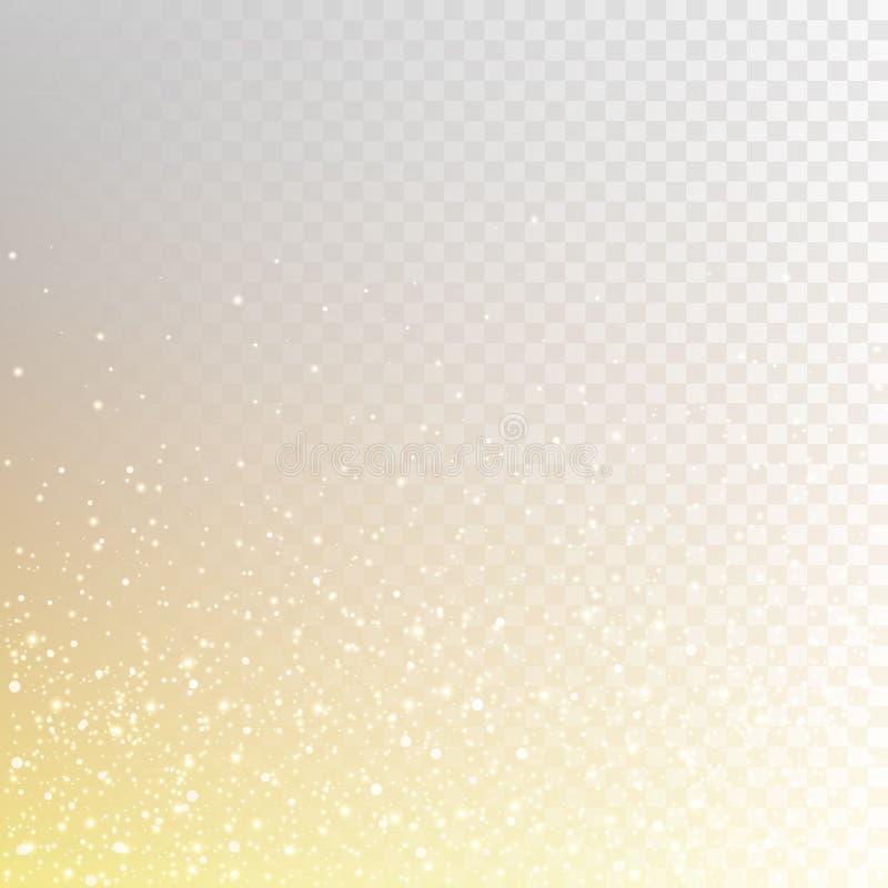 Nombreuses étincelles ardentes d'illustration courante de vecteur, étincelles, lumières d'isolement sur un fond à carreaux transp illustration libre de droits