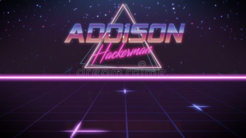nome Addison no estilo do synthwave ilustração stock