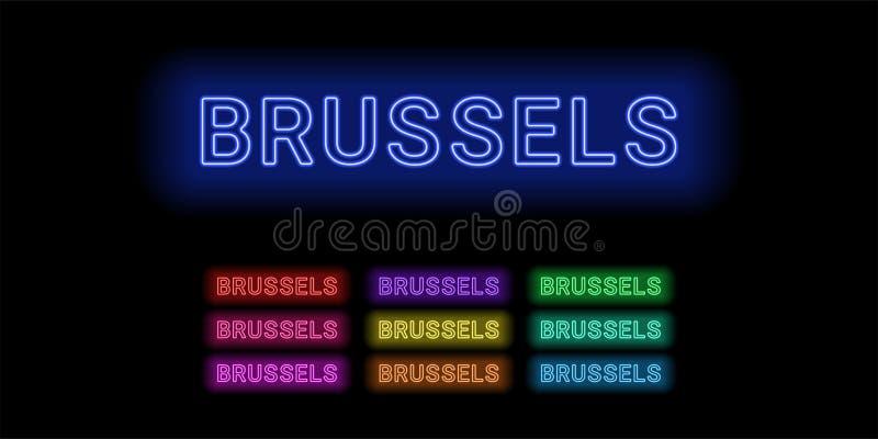 Nome al neon della città di Bruxelles royalty illustrazione gratis