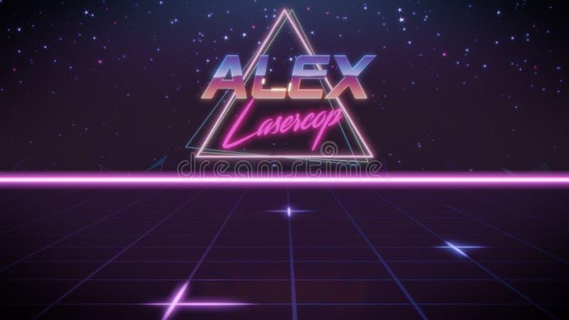 nome Alex no estilo do synthwave ilustração stock