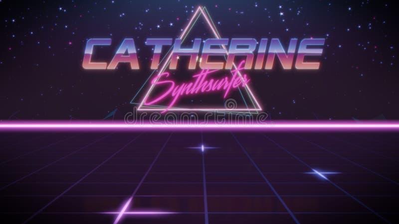 nome Catherine nello stile dello synthwave illustrazione di stock