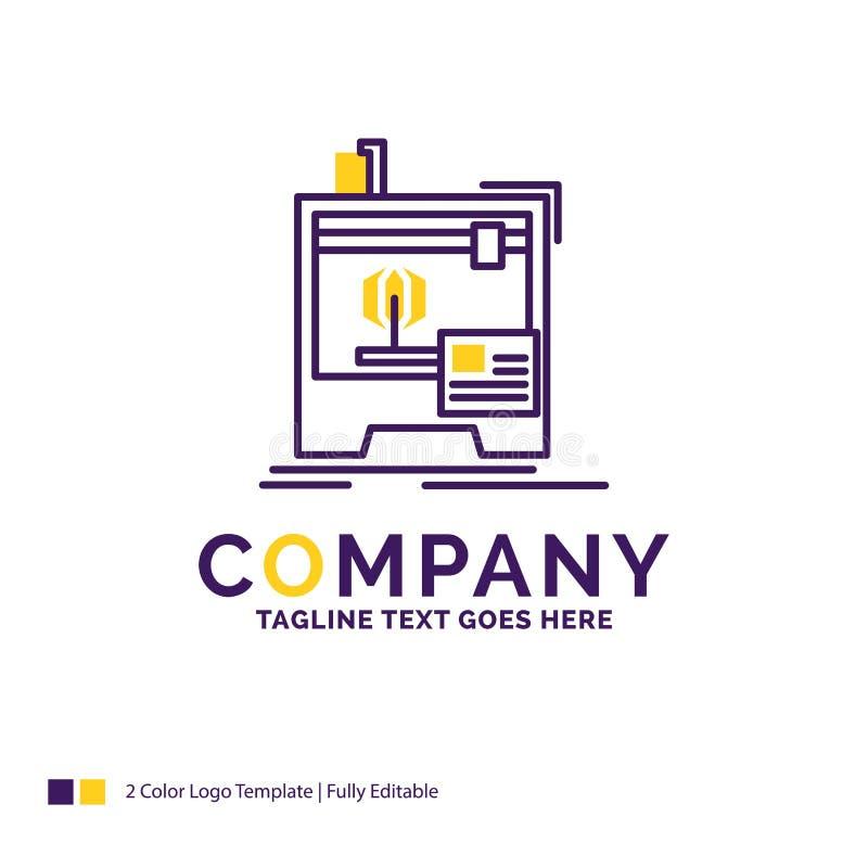 Nome da empresa Logo Design For 3d, dimensional, máquina, impressora ilustração royalty free
