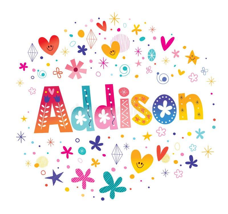 Nome das meninas de Addison ilustração royalty free