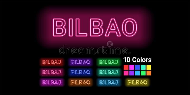Nome de néon da cidade de Bilbao ilustração do vetor