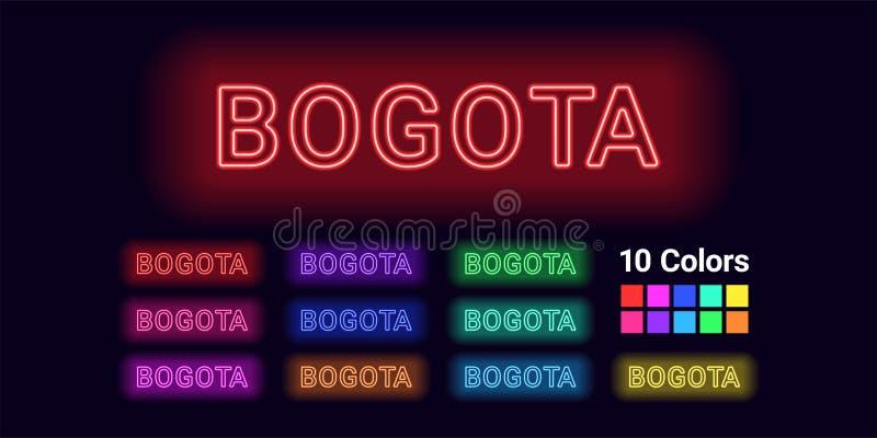 Nome de néon da cidade de Bogotá ilustração do vetor