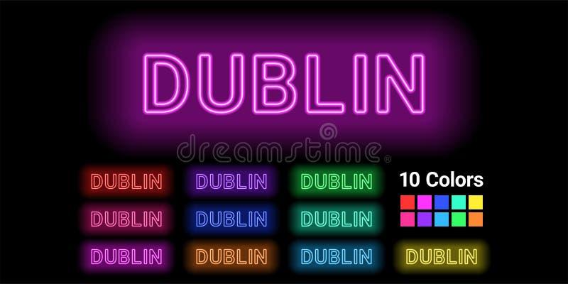 Nome de néon da cidade de Dublin ilustração do vetor