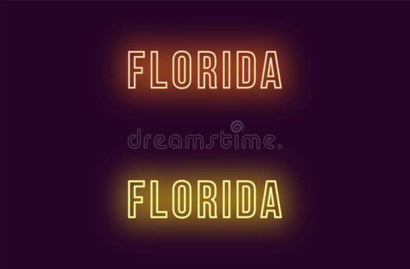 Nome de néon do estado de Florida nos EUA Texto do vetor ilustração stock