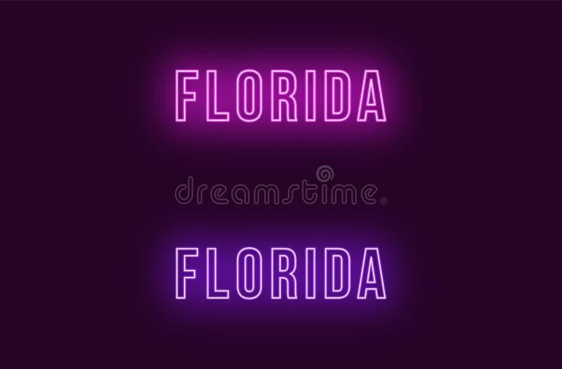 Nome de néon do estado de Florida nos EUA Texto do vetor ilustração royalty free