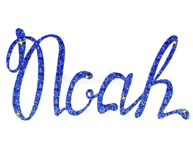 Nome de Noah que rotula ouropéis azuis ilustração stock
