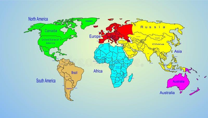 Nome dei continenti e di paese della mappa dei colori del - Foto della mappa del mondo da stampare ...