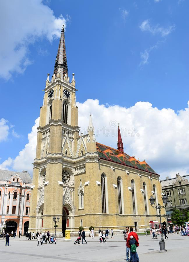 Nome della chiesa di Maria nel centro urbano, Novi Sad, vojvodina, Serbia fotografie stock libere da diritti