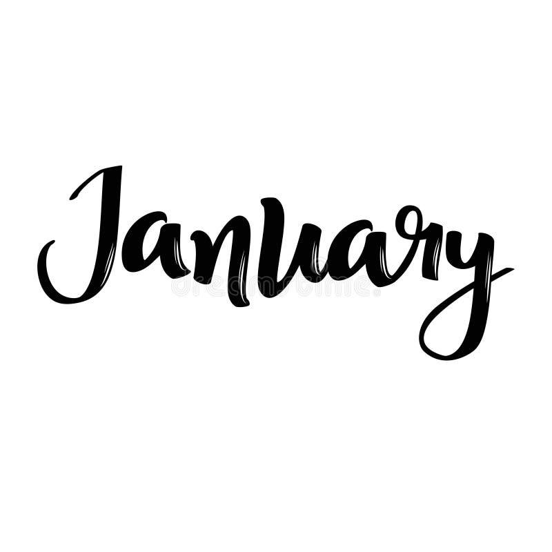 Nome di mese di gennaio Parola calligrafica scritta a mano Fonte audace royalty illustrazione gratis