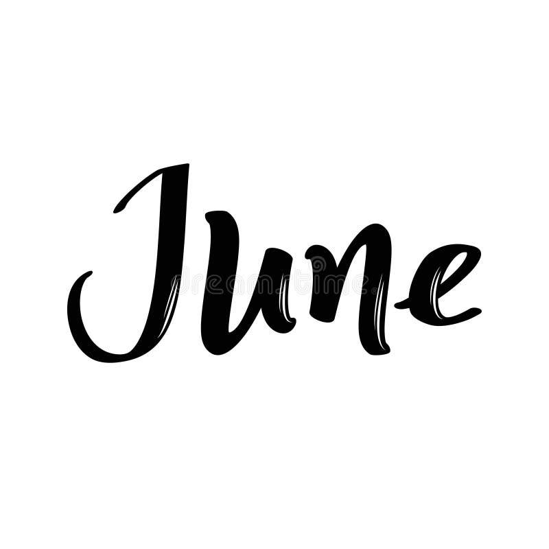 Nome di mese di giugno Parola calligrafica scritta a mano Fonte audace royalty illustrazione gratis