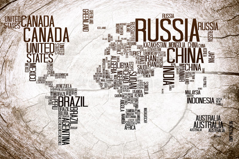 Nome di paesi della mappa di mondo su legname illustrazione di stock