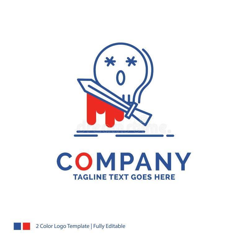 Nome di società Logo Design For Death, frag, gioco, uccisione, spada Blu illustrazione vettoriale