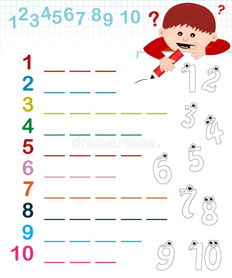 Nome dos números ilustração do vetor