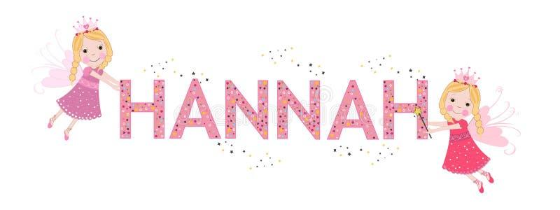 Nome fêmea de Hannah com fada bonito ilustração do vetor