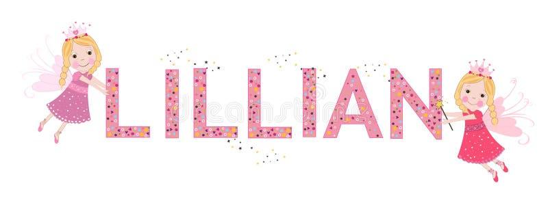 Nome fêmea de Lillian com conto de fadas bonito ilustração stock