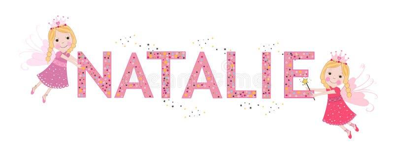 Nome fêmea de Natalie com fada bonito ilustração royalty free
