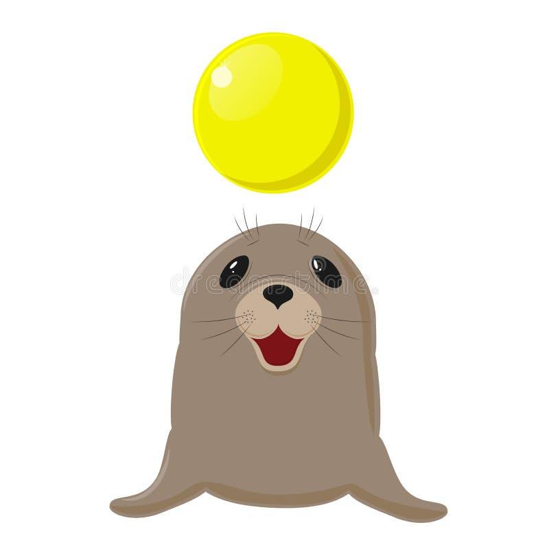 Nome Latin - ursinus do Callorhinus Mostra do circo com animais Jogos do cão de mar com uma bola amarela ilustração stock