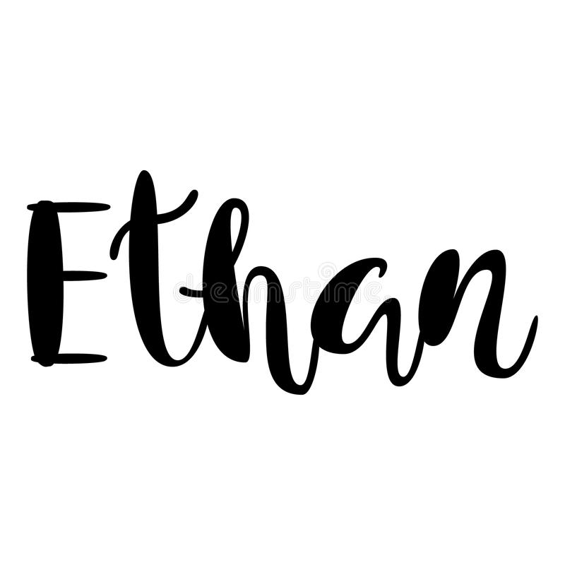 Nome masculino - Ethan Projeto de rotulação Tipografia escrita à mão Vec ilustração royalty free