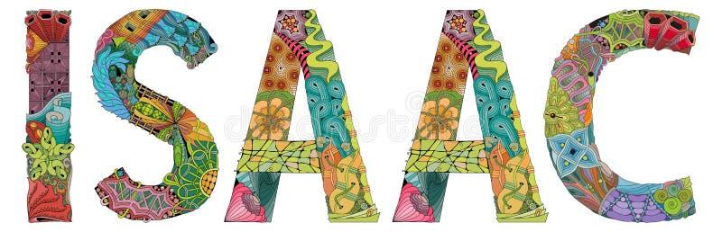 Nome masculino Isaac Objeto decorativo do zentangle do vetor ilustração stock