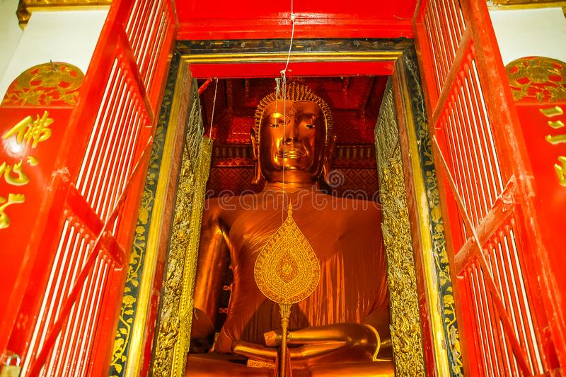 Nome Wat Mahathat, vecchia città del tempio a Ayutthaya, Tailandia fotografie stock