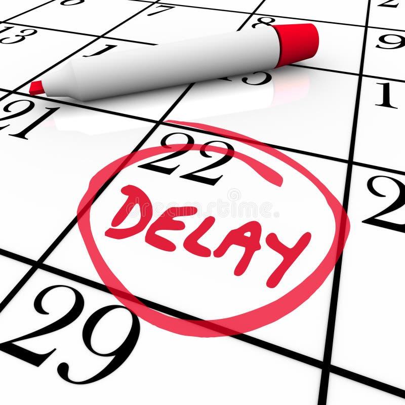Nomeação faltada programação B empurrado reunião da data do calendário do atraso ilustração stock