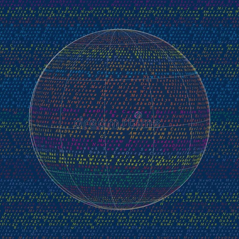 Nomes da cidade da palavra Fundo do projeto de conceito da colagem do globo do mundo ilustração stock