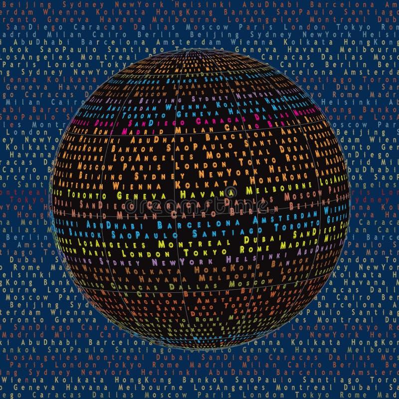 Nomes da cidade da palavra Projeto de conceito Background_3 da colagem do globo do mundo ilustração royalty free