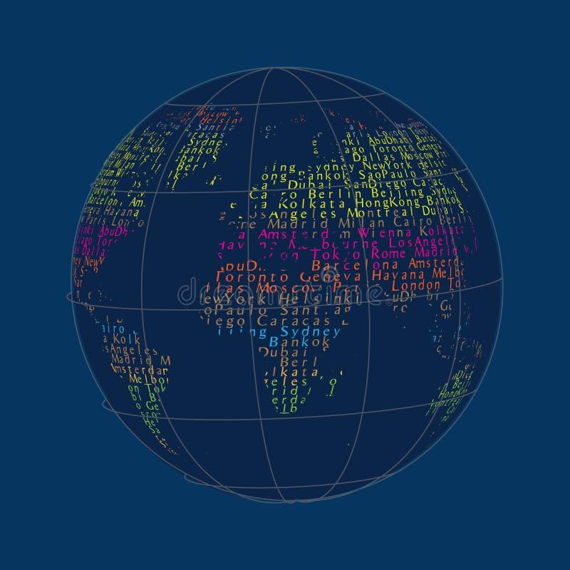 Nomes da cidade da palavra Projeto de conceito Background_1 da colagem do mapa do globo do mundo ilustração do vetor