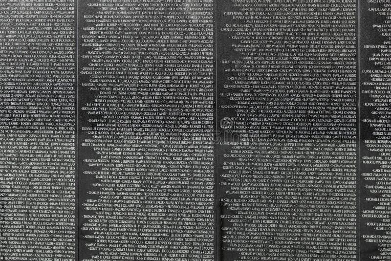Nomes de víctimas da guerra do vietname em fotos de stock