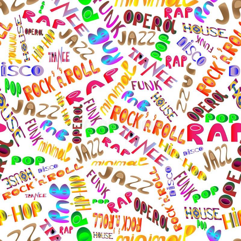 Nomes do estilo da música ilustração stock