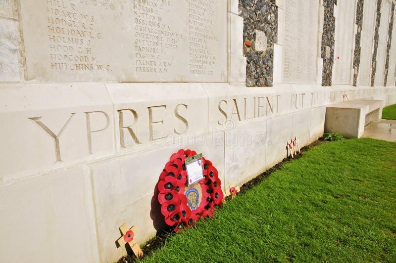 Nomes inscritos, Tyne Cot Cemetery foto de stock