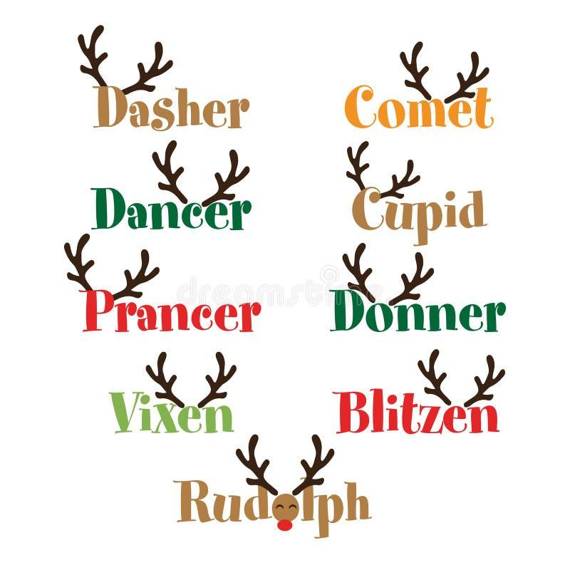 Nomi della renna di Santa illustrazione di stock