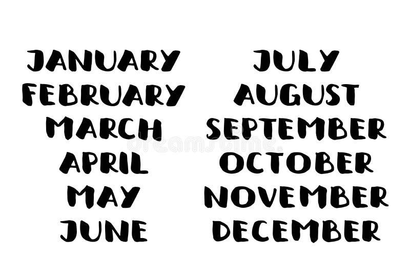 Nomi scritti a mano dei mesi Modello del calendario illustrazione vettoriale