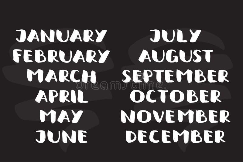 Nomi scritti a mano dei mesi Modello del calendario Fonte audace illustrazione vettoriale