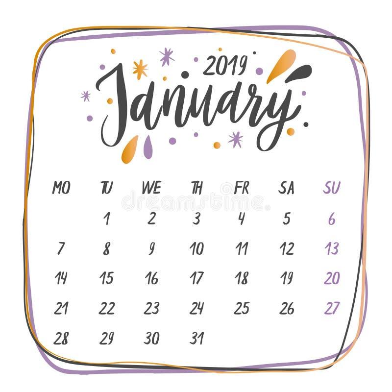 Nomi scritti a mano dei mesi: Parole di calligrafia di gennaio per i calendari e gli organizzatori illustrazione di stock