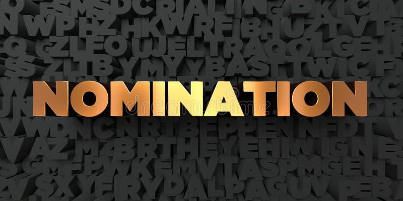 Nominacja - Złocisty tekst na czarnym tle - 3D odpłacający się królewskość bezpłatny akcyjny obrazek ilustracji