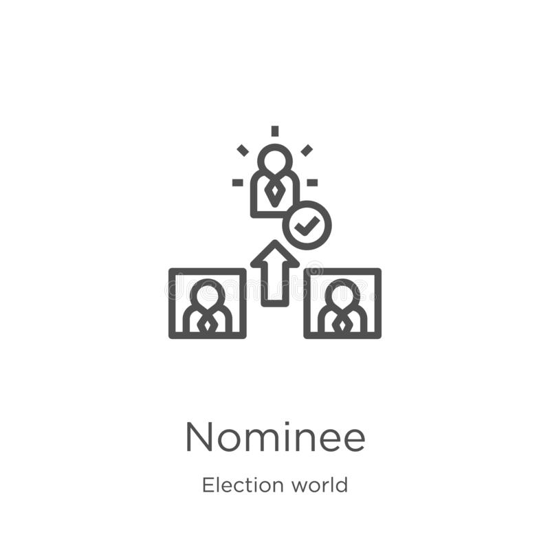 Nominee icon vector from election world collection. Thin line nominee outline icon vector illustration. Outline, thin line nominee. Nominee icon. Element of royalty free illustration