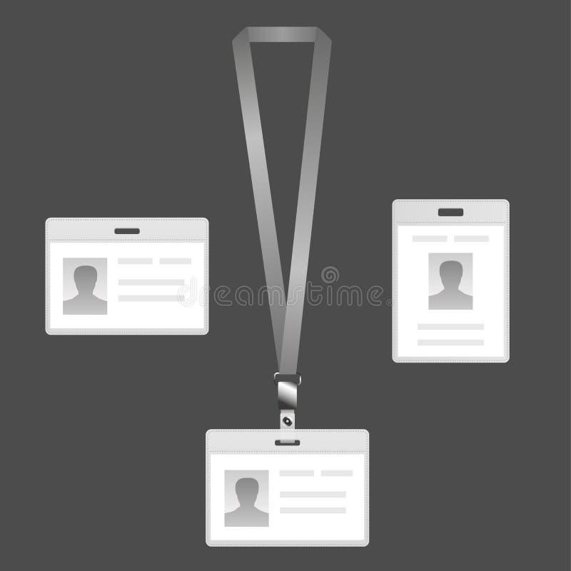 Nommez le support d'étiquette, insigne de lanière réglé avec des icônes illustration stock