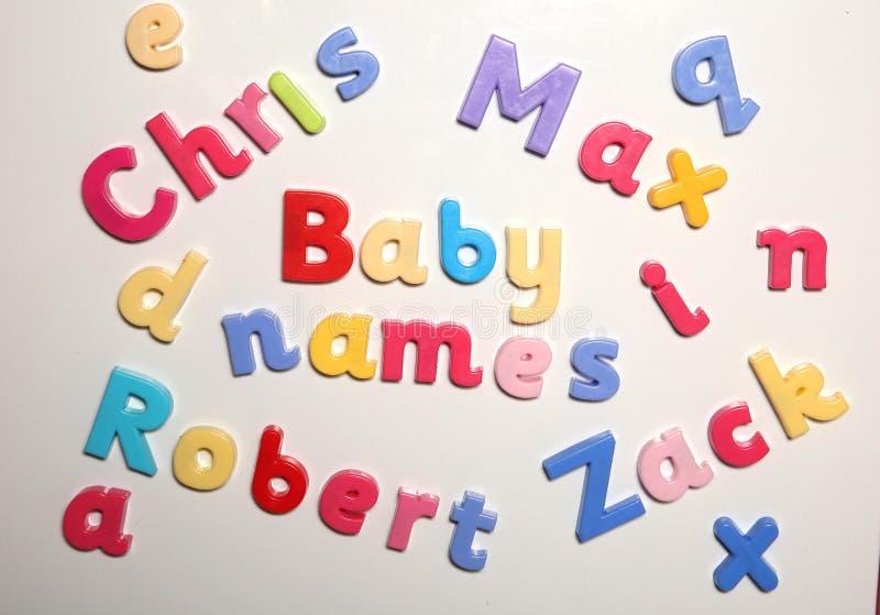 Noms de bébé écrits avec des lettres d'alphabet image stock